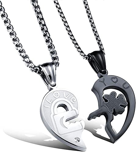 2pcs//Set Matching Heart His/&Hers Couple Pendant Stainless Steel Necklace Jewelry