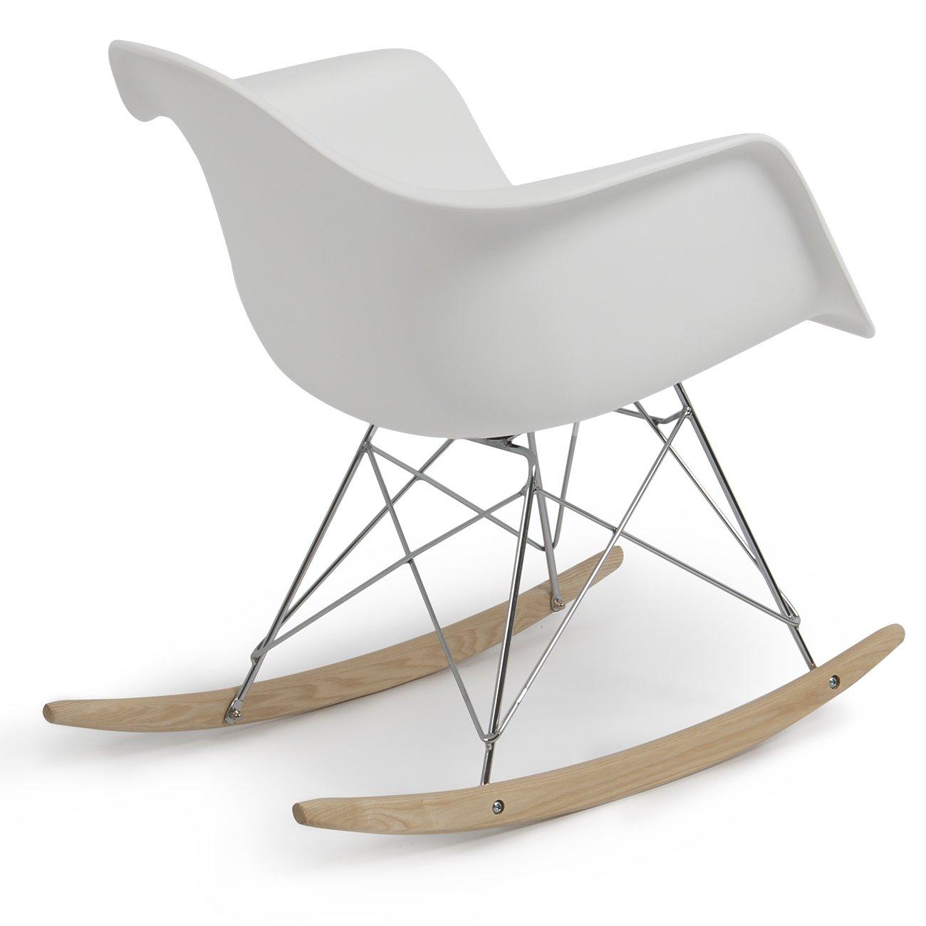 Rar rocking chairs eames style rar rocking arm chair grey - Amazon Com Belleze Mid Century Style Rocking Retro Rocking Chair Mid Century Nursery Living Room Cradle White Kitchen Dining