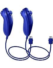 Nunchuck Controllers für Nintendo Wii U, AFUNTA 2 Packs Ersatz für WII U Videospiel - Dunkel Blau