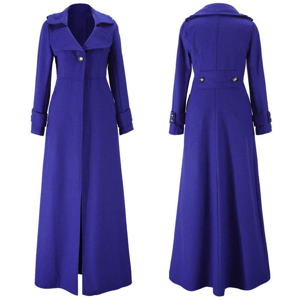 NEEKY Damen Wintermode Revers Schmaler Trenchcoat Lässige Knopf Jacke Lange Parka Mantel Outwear