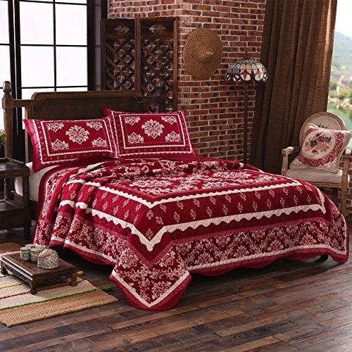 LAMEJOR Quilt Set Queen Size Bohemian Floral Print 3-Piece Luxury Comforter Set Bedspread/Coverlet/Bed Cover Lightweight Microfiber Red (Red Bedspread Queen)