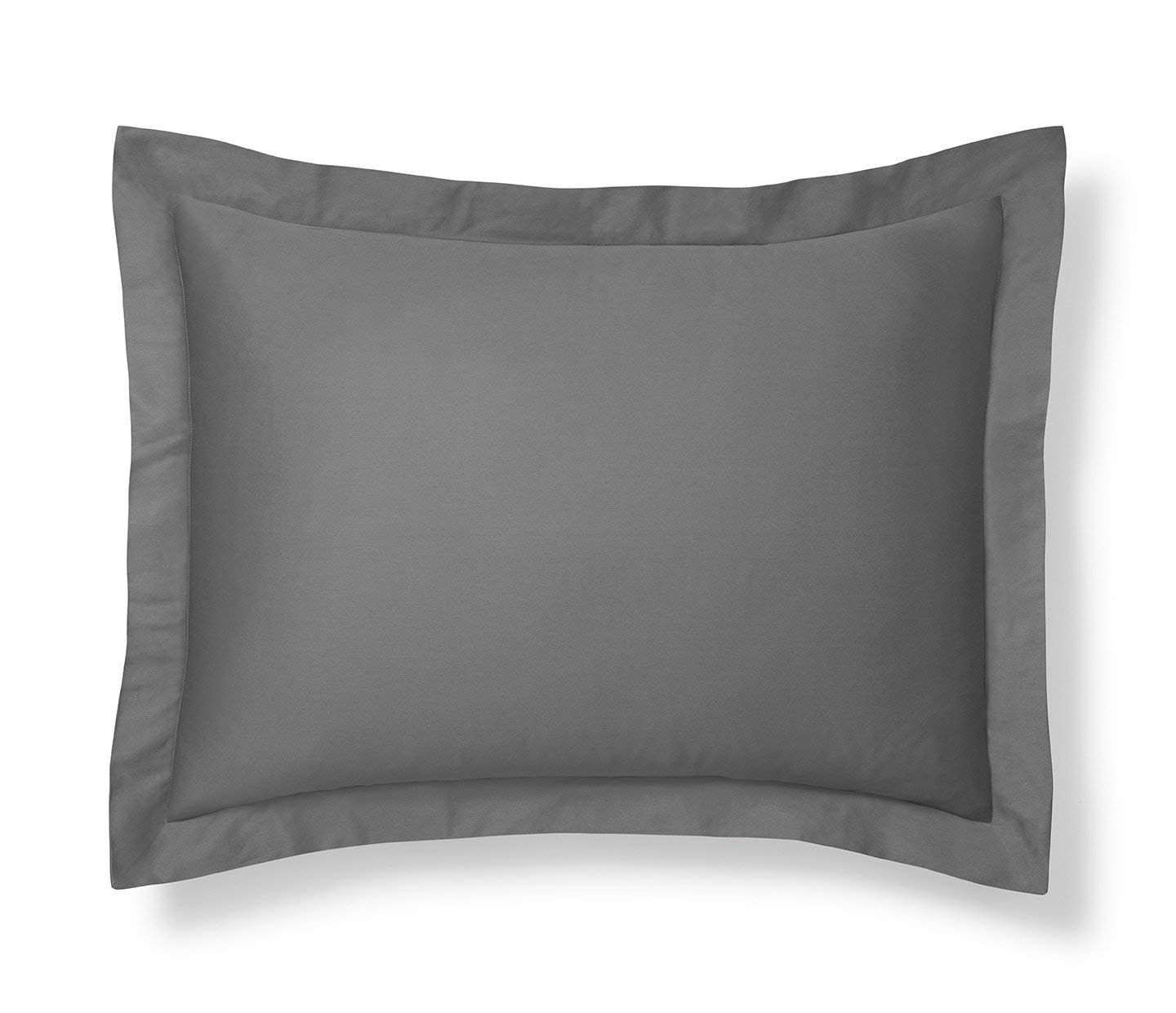 New 550 Thread Count Natural Cotton Euro Pillow Shams with 2 inch Border Silver Gray, King 20x40 Pillow Shams Set of 2 Silver Gray, King 20x40