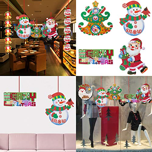 4pcs Christmas Door Decorations Hanging Sparkling Santa Claus Snowman Cardboard Decor for Holiday Party Indoor Outdoor Fireplace Home Yard Favor Gift (B)]()