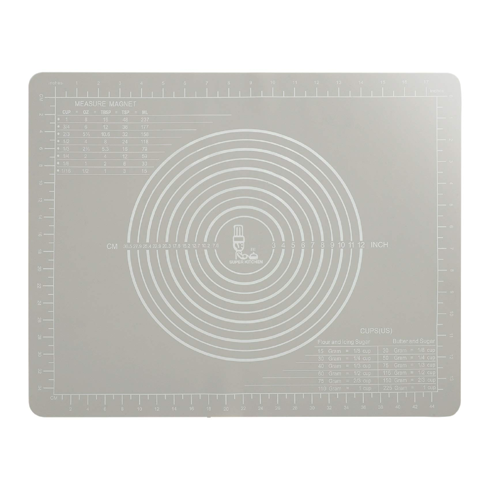 Non-Slip Silicone Pastry Mat with Measurement 50×40 cm for Silicon Baking Mats, Non-Stick Dough Rolling Kneading Mat, Table Place Mats, Fondant Icing/Bread/Pizza/Pie Mat by Super Kitchen (Grey)