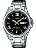 Casio Men's Quartz Watch with Black Dial Analogue - Digital Display and Silver Stainless Steel Strap MTP1377D-1AVEF