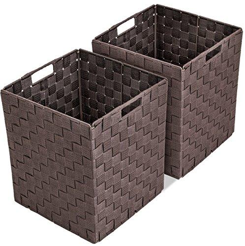 Sorbus Foldable Storage Cube Woven Basket Bin Set - Built-in Carry Handles - Great for Home Organization, Nursery, Playroom, Closet, Dorm, etc (Woven Basket Bin Cubes - 2 Pack, Chocolate)