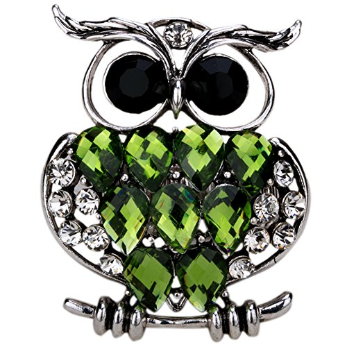 YACQ Jewelry Women's Crystal Owl Stretch Ring Silk Scarf Clasp Buckle (Silk Stretch Scarf)
