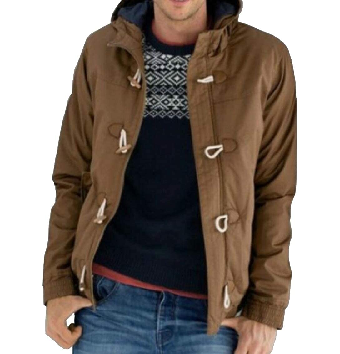 Hokny TD Mens Single Breasted Solid Color Hooded Thicken Down Jacket Coat