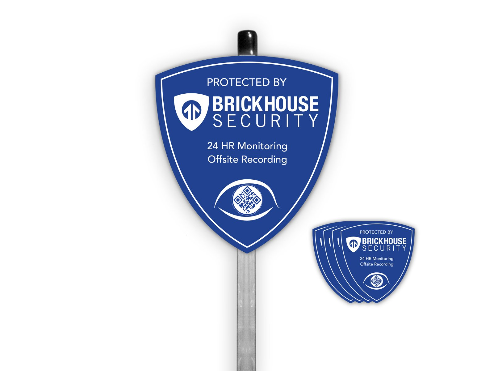 Brickhouse Security Blue Shield Home Surveillance Yard Sign w/Stake & 4 Stickers (NEW VERSION)