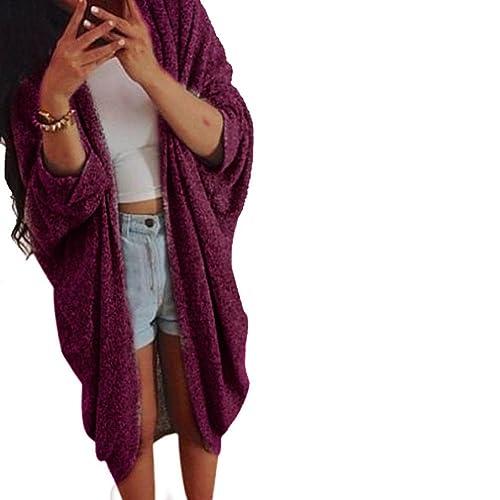 FEITONG Mujeres Señora de punto Casual Suéter manga larga capa de la chaqueta de la rebeca