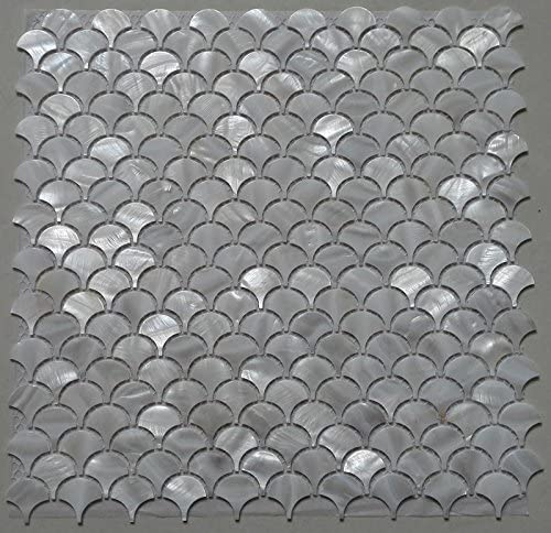 Amazon Com White Fish Scale Shell Mosaic Tile Mother Of Pearl Kitchen Backspalsh Tile Bathroom Tile Shower Wall Tiles Decoration Background Tile Fan Pattern Factory Direct Sale Home Kitchen