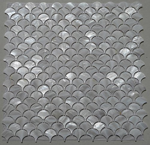 Blue Mother Of Pearl Mosaic - White Fish Scale Shell Mosaic Tile Mother of Pearl Kitchen Backspalsh Tile Bathroom Tile Shower Wall Tiles Decoration Background Tile Fan Pattern Factory Direct Sale