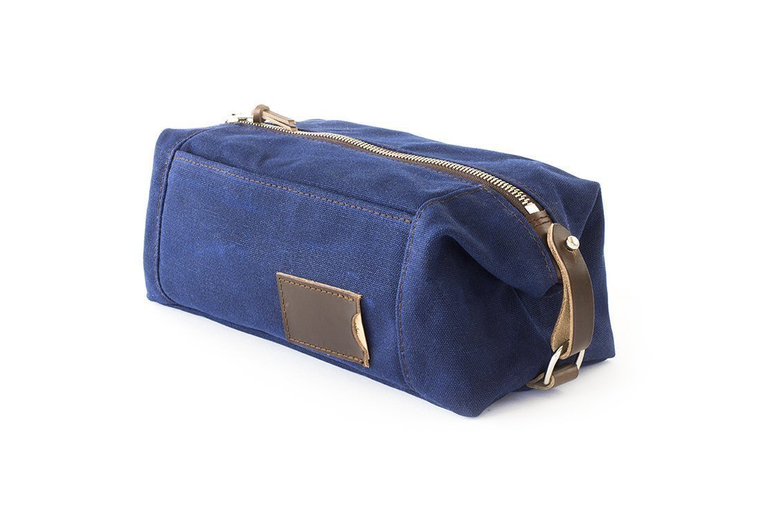 Waxed Canvas Dopp Kit: Large, Expandable, water-resistant, Hanging Toiletry Bag, Travel, Navy Blue - No. 349 (Made in the USA)
