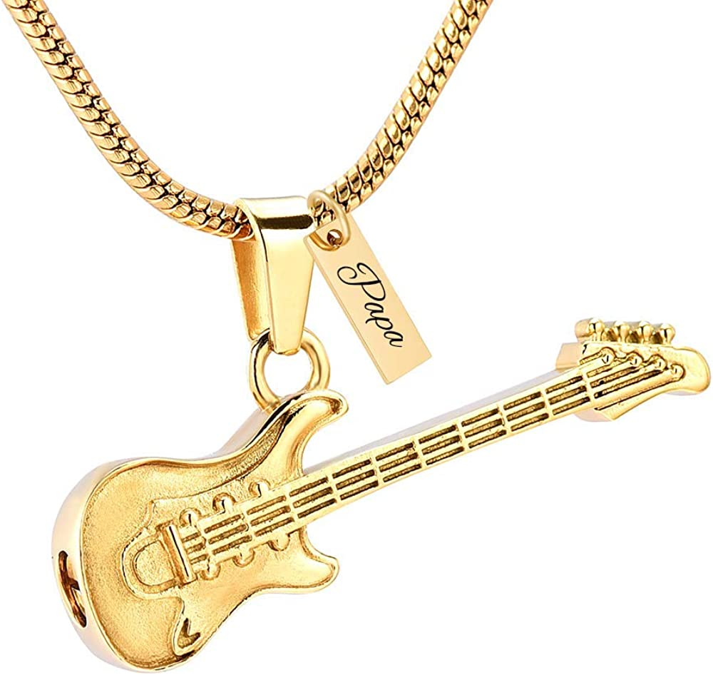 Yinplsmemory Guitar Urn Necklace for Ashes Holder Memorial Keepsake Ashes Cremation Jewelry for Human Ashes Pet Ashes Jewelry