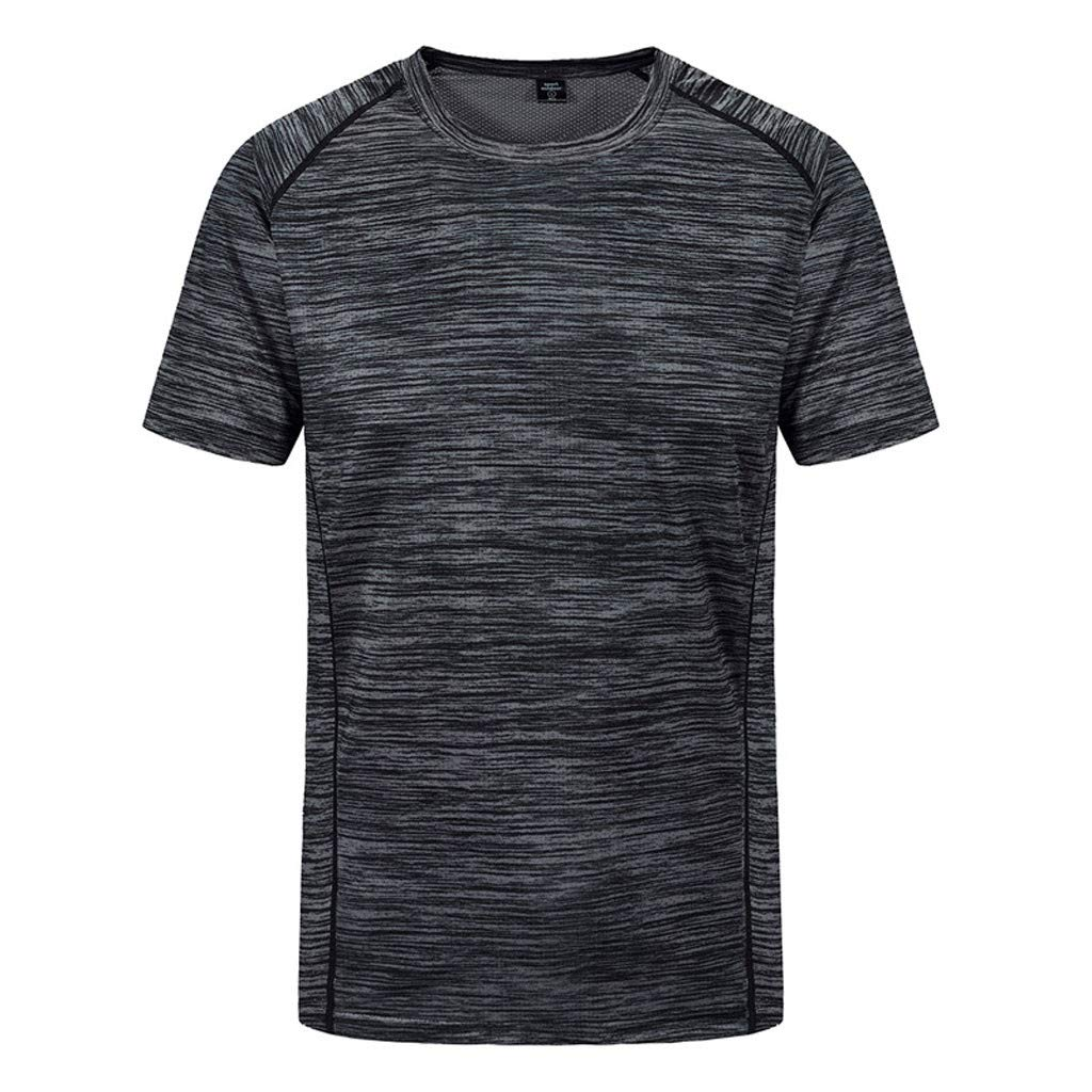 Blouse with Long Sleeves,Men's New Summer Round Neck Loose Size Sports Fitness Short Sleeves Fast Dry Top,Men's Novelty Shirts,Gray,L