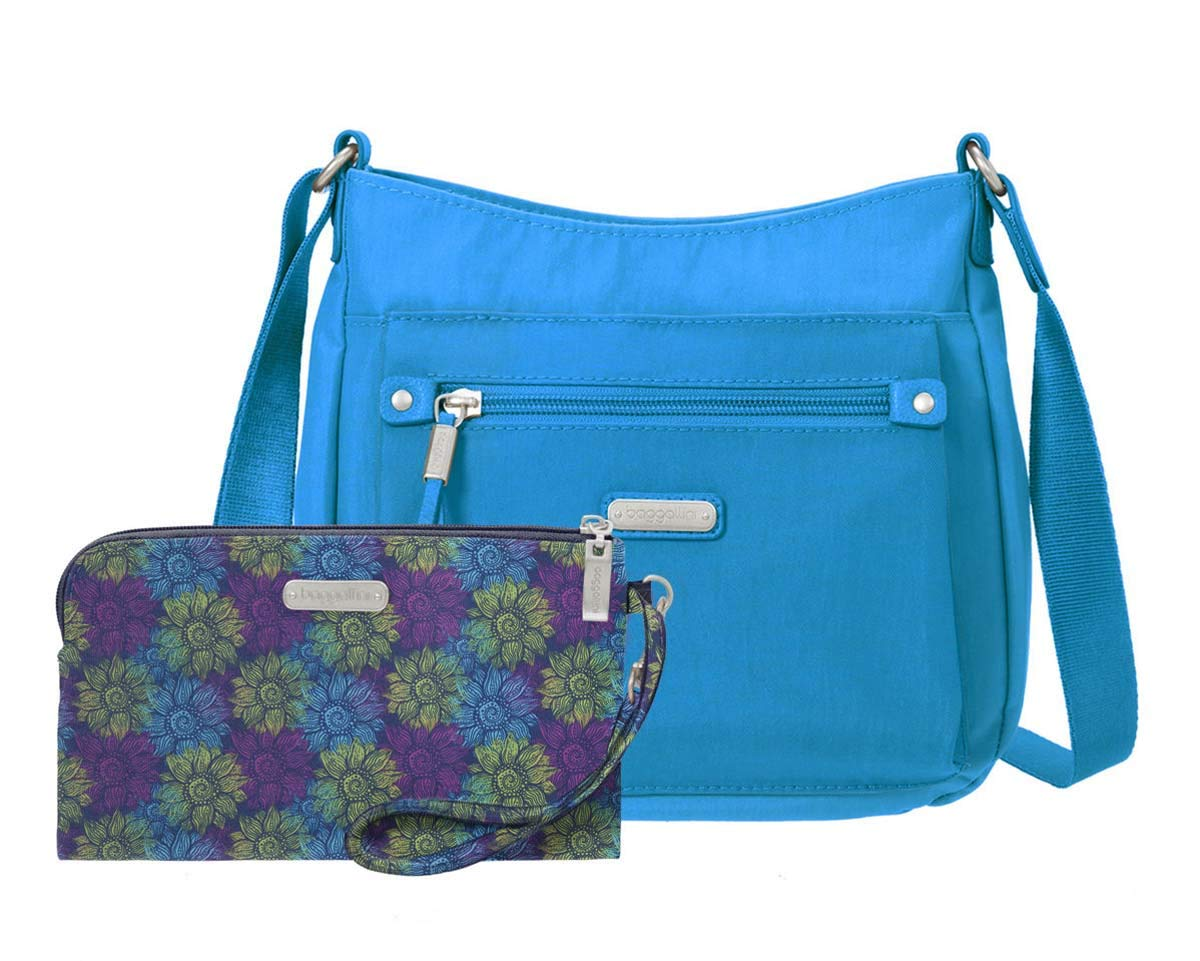 baggallini Uptown Bagg with RFID Phone Wristlet (Aqua) by Baggalini