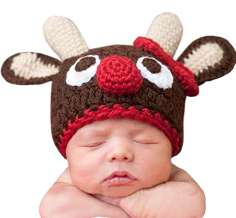 BIBITIME Infant Baby Photography Prop Costume Bowknot Christmas Elk Crochet Hat 1865