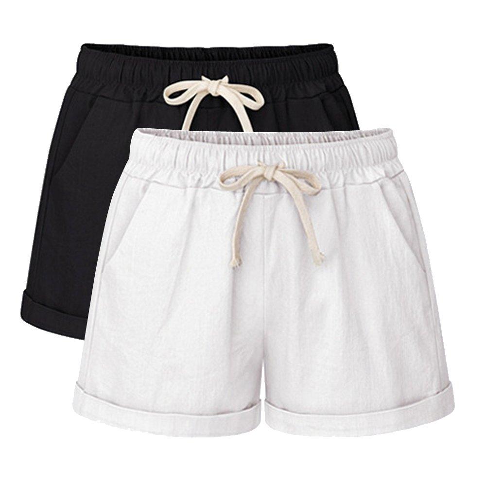 Sobrisah Women's Drawstring Elastic Waist Casual Comfy Cotton Linen Beach 2 Pack Black White Tag M-US 2-4