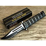 TAC Force TF-710BK Liner Lock Assisted Opening Folding Knife, Two-Tone Half-Serrated Blade, Black Handle, 5-Inch Closed