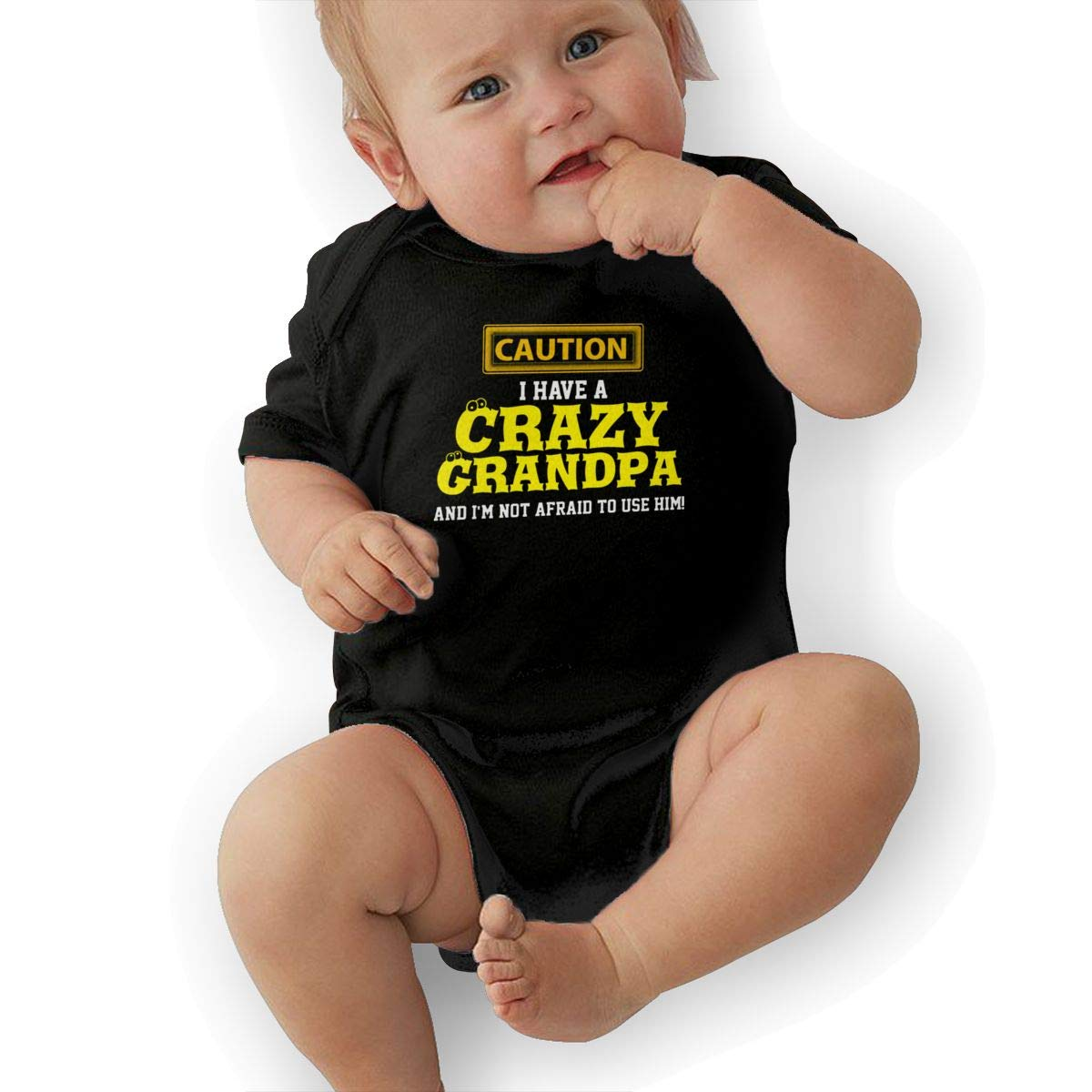 ZestyChef I Have A Crazy Grandpa and Im Not Afraid to Use Him Baby Cotton Bodysuit Onesies Short Sleeve Baby Rompers