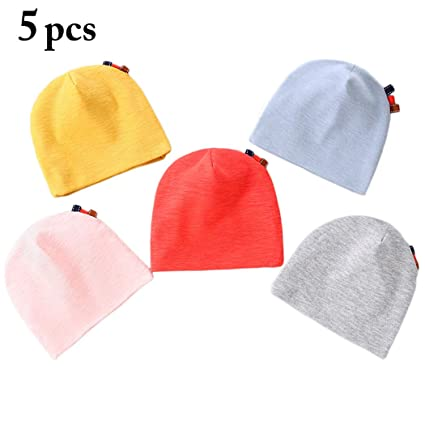 164b86a22 Zoylink Baby Girl's 5Pcs Hat Beanie Hat Breathable Minimalist Cotton ...