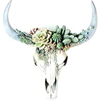 Bull Head Wall Sculpture Succulent/Flower Cow Skull Wall Decor Nursery Decor Resin Ornament with Hanging Hole for Living…