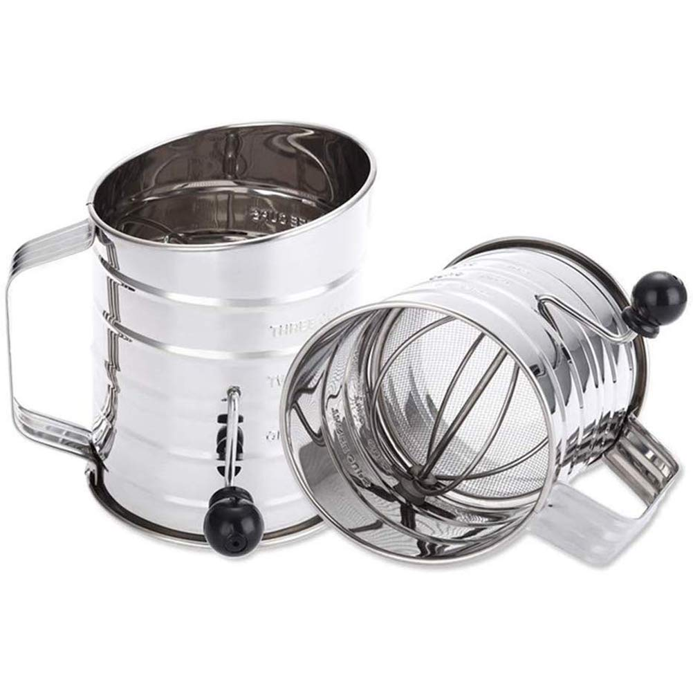 Flour Sifter, Stainless Steel Sifter for Baking, Rotary Hand Crank Baking Sugar Sifter with Fine Mesh Screen Strainer Filter for Bake Decorate Cakes Pies Pastries Cupcak, 2PCS by HJJH