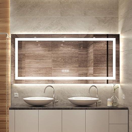 FOMAYKO 47 x 21 Inch Bathroom LED Vanity Mirror Anti-Fog Wall Mounted Makeup Full Length/Body/Floor Mirror