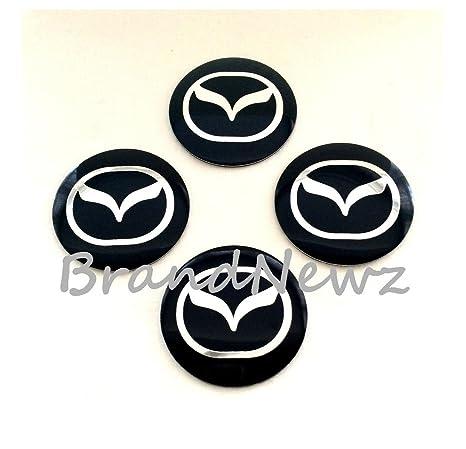 Mazda negro cromo 3d emblema rueda Centro Tapa Adhesivo Logo Badge – Tapacubos (56,