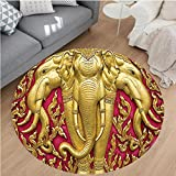 Nalahome Modern Flannel Microfiber Non-Slip Machine Washable Round Area Rug-nt Carved Gold Paint on Door Thai Temple Spirituality Statue Classic Image Magenta Golden area rugs Home Decor-Round 71''