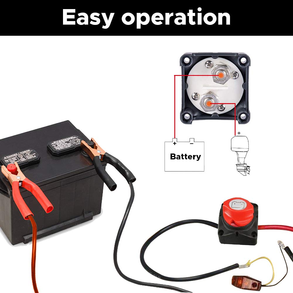 Audew Battery Disconnect Switch, 12V - 48V Compatible Battery Power Cut Master - Waterproof Switch Disconnect Isolator for Car RV Boat Truck ATV Vehicles (On/Off): Industrial & Scientific
