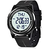 Beeasy Digital Watch Waterproof with Stopwatch Alarm Countdown Dual Time, Ultra-Thin Super Wide-Angle Display Digital Wrist Watches for Men Women