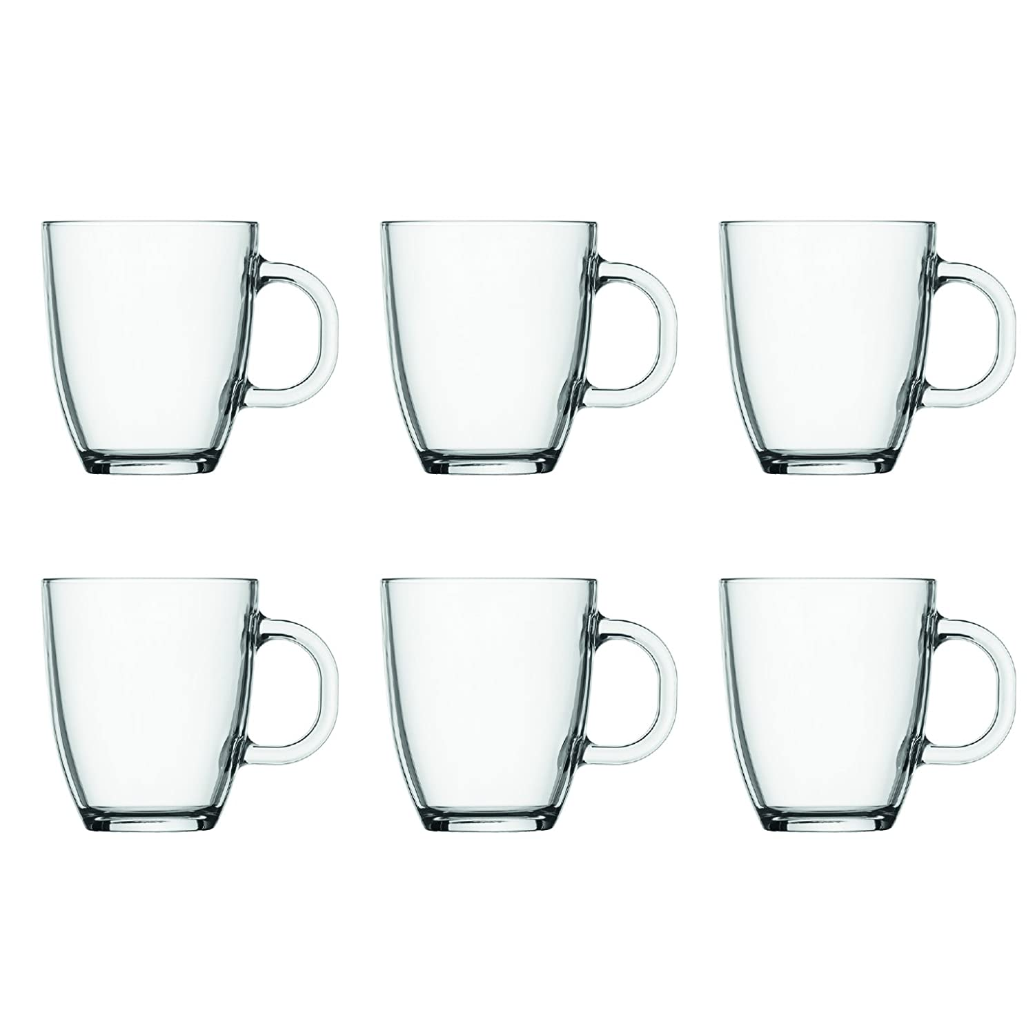 BODUM 11239-10-2 0.35 Litre 6-Piece Borosilicate Glass Bistro Coffee Mug, Transparent