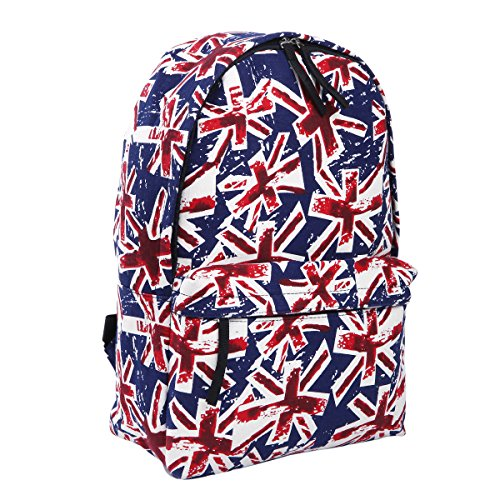 n Jack UK Flag Canvas Backpack School Shoulder Bag, Navy ()