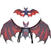 Bat Cosplay Wings, Backpack Dress Up Red/Green Halloween Costume, Wide Straps Design for Kids Above 3(Adult red bat Suit…