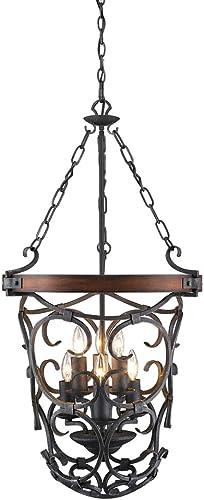 Golden Lighting 1821-6P BI Madera Foyer – Caged, Black Iron