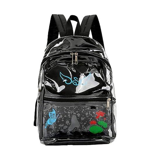 Original mochila con espalda negra y frontal transparente con flores.