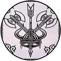 Printing Round Rug,Viking,Helmet with Horn Arrow Axe Antique War Celtic Style Medieval Battle Art Prints Mat Non-Slip Soft Entrance Mat Door Floor Rug Area Rug For Chair Living Room,Black White