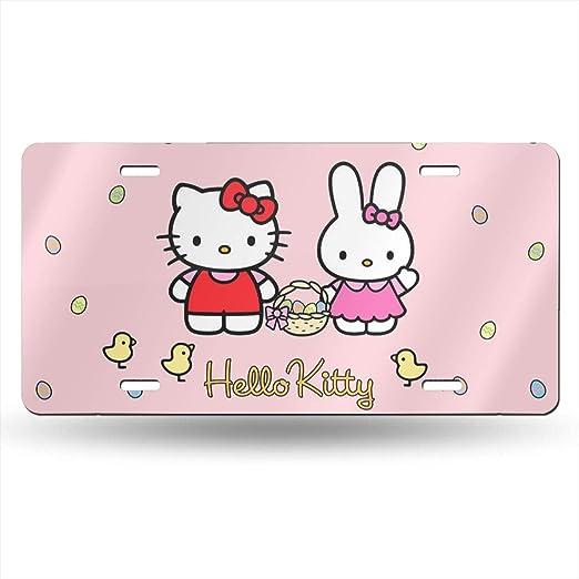 Accesorios para Coche Placa de matr/ícula de Hello Kitty Meirdre Placas de Aluminio para matr/ícula 12 x 6 Pulgadas