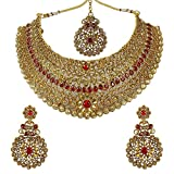 MUCH-MORE Indian Awesome Traditional Necklaces Earrings With Maang Tikka Jewelry for Women B (Red)
