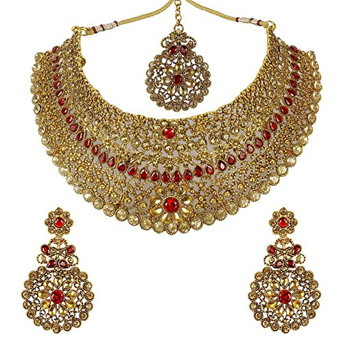 (MUCH-MORE Indian Awesome Traditional Shiny Necklaces Earrings with Maang Tikka Jewelry for Women B (Red))