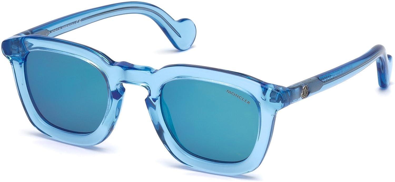 Sunglasses Moncler ML 0006 Mr 84L Shiny Light Blue Roviex Mirror