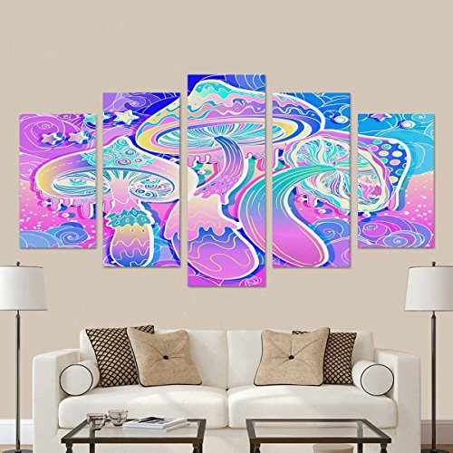 InterestPrint 60s Hippie Colorful Art Psychedelic Mushrooms Canvas Prints Wall Art for Home Decor (No Frame) 5-Pieces