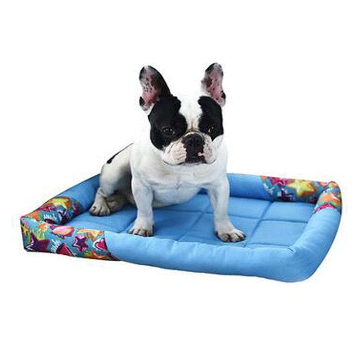 bluee M bluee M Dog Bed, Dog Sleeping Mat, Spring and Summer Small and Medium Dog Cat Orthopedic Soft Mattress, Dog House Supplies, Pink, bluee L (color   bluee, Size   M)