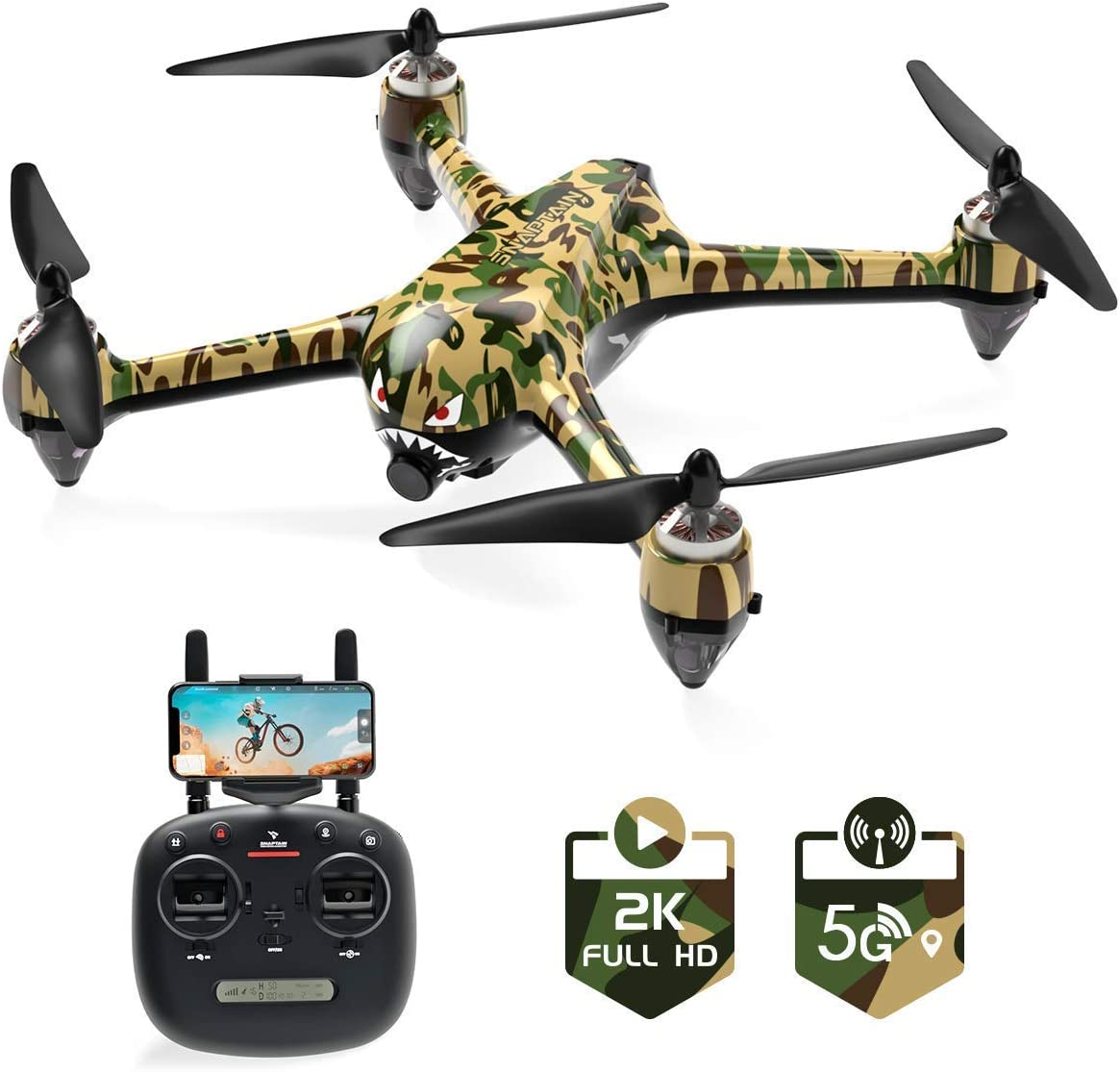SNAPTAIN SP700 GPS Drone with Brushless Motor, 5G WiFi FPV RC Drone for Adult with 2K Camera Live Video, Follow Me, APP Control, GPS RTH, Way Points, Point of Interest, Module Battery