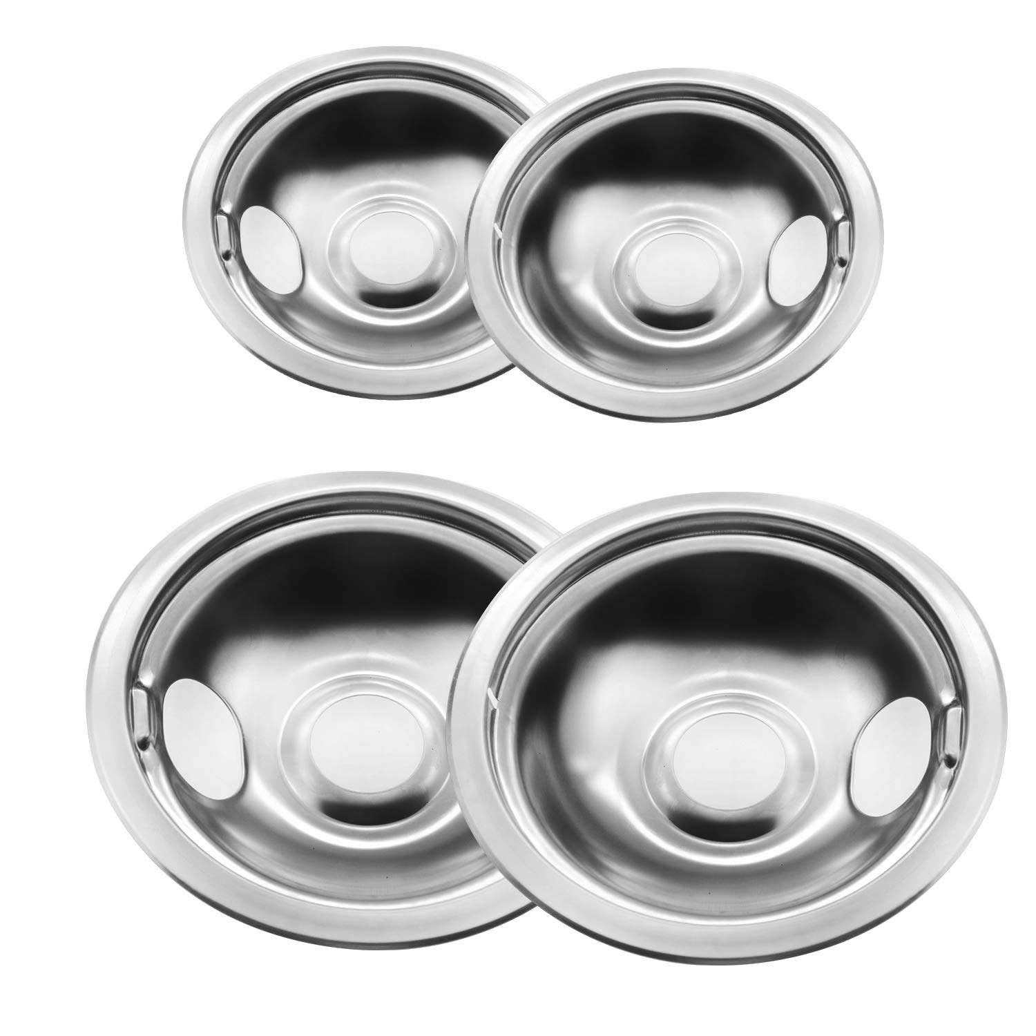 4-pack Gas Stove Burner Covers Stainless Steel Reflector Bowls Stove Drip Pans for Frigidaire Kenmore 5304430149, 5304430150