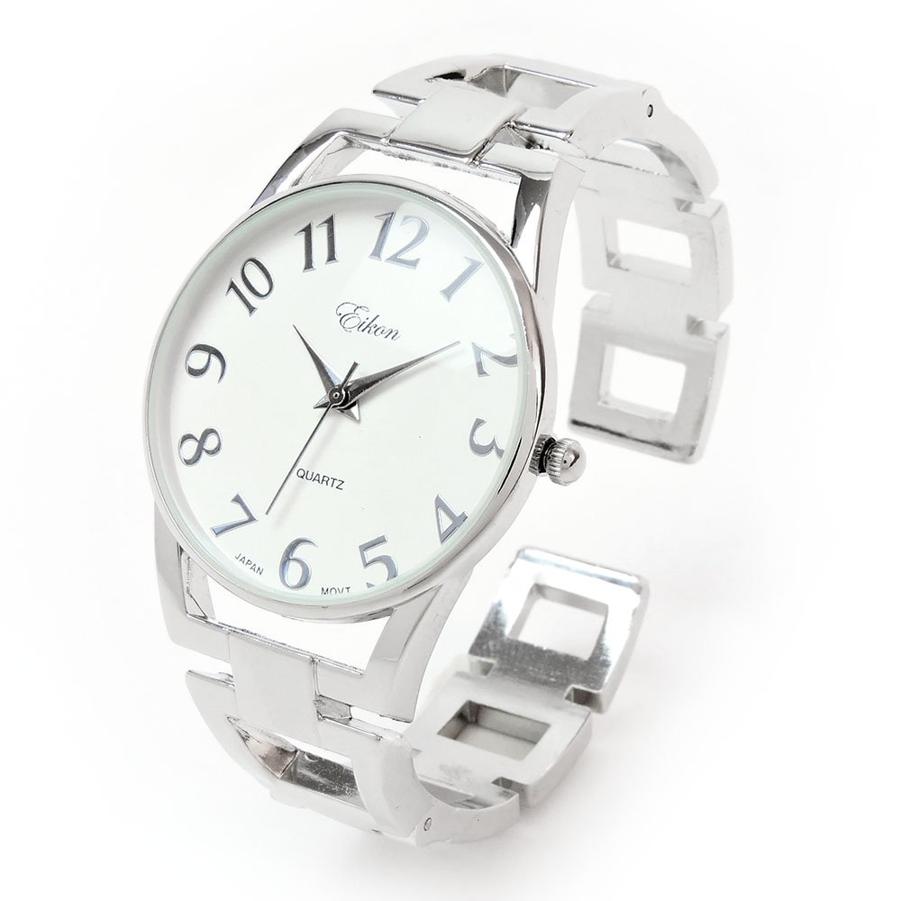 Silver Square Links Style Band Large Face Easy to Read Women's Bangle Cuff Watch
