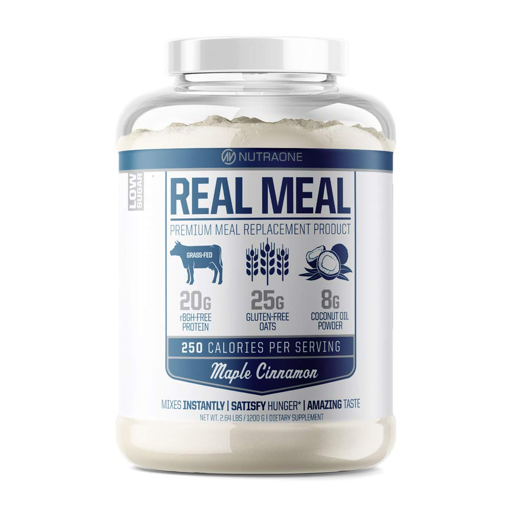 Real Meal Premium Meal Replacement Powder by NutraOne - Gluten Free, Low Sugar Meal Replacement Protein Powder (Maple Cinnamon - 2.6 lbs.)