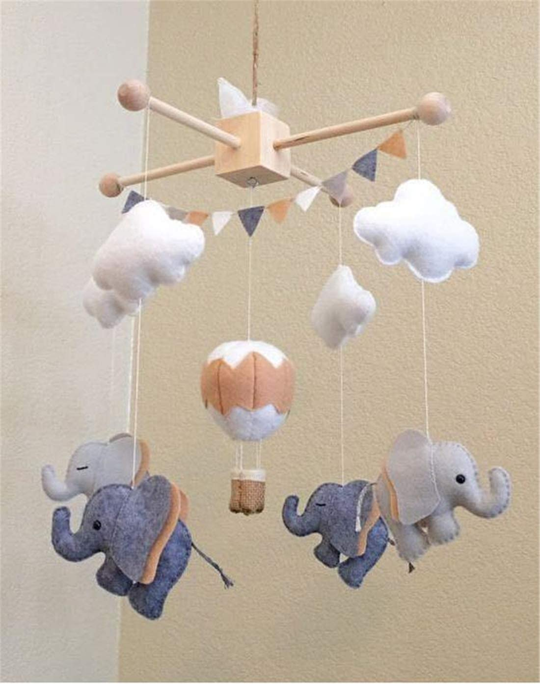 1Set Baby Hanger Baby Mobile Crib Hanger Frame Bed Bell Wooden Mobile Crib Hanger DIY Crafts Frame Mobile Holder Newborn Gifts