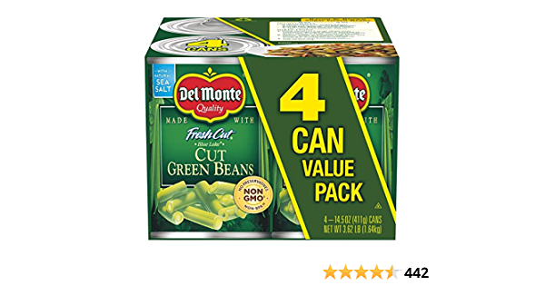Del Monte Canned Fresh Cut Blue Lake Green Beans, 14.5-Ounce Cans (Pack of 4)